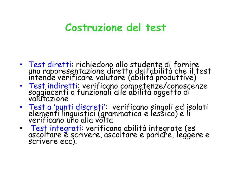 Costruzione del test