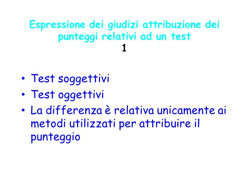 Test soggettivi Test oggettivi