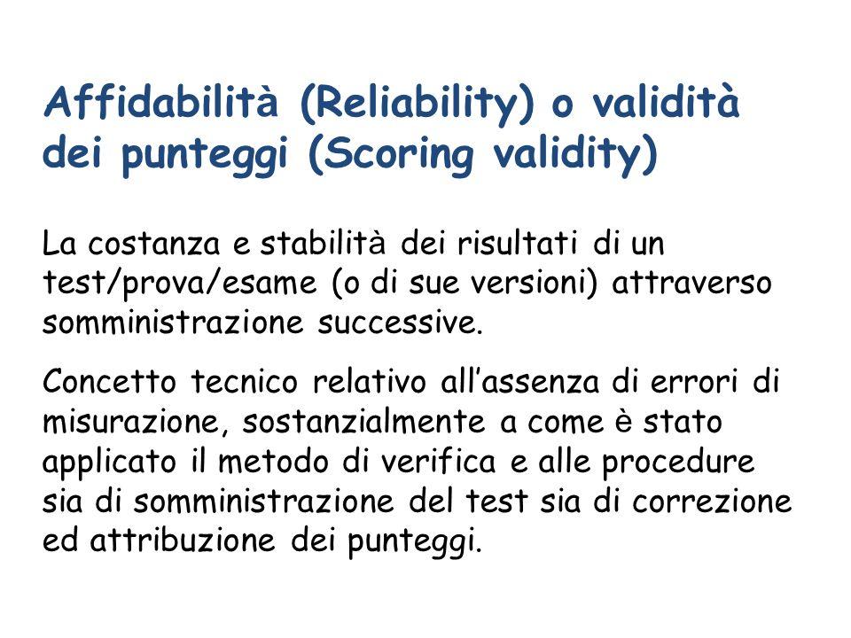Affidabilità (Reliability) o validità dei punteggi (Scoring validity)