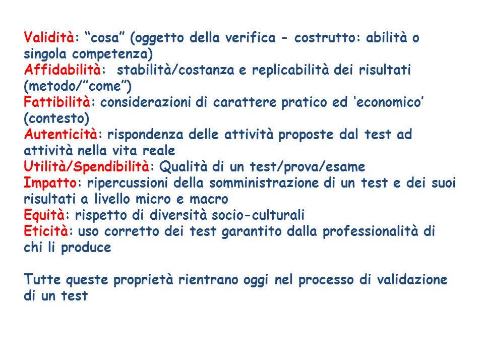 Utilità/Spendibilità: Qualità di un test/prova/esame