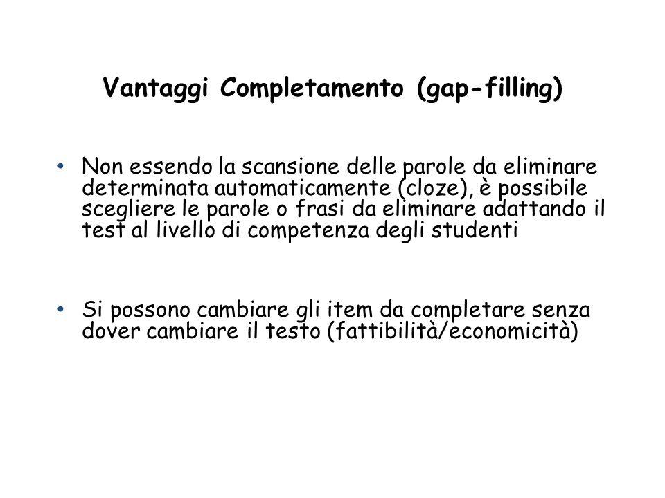 Vantaggi Completamento (gap-filling)