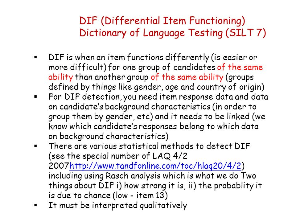 DIF (Differential Item Functioning)