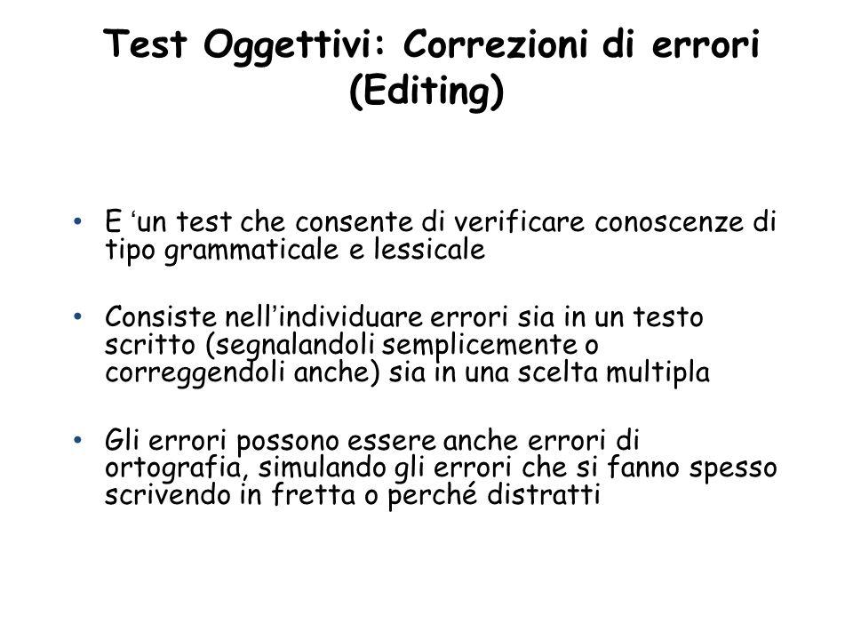 Test Oggettivi: Correzioni di errori (Editing)