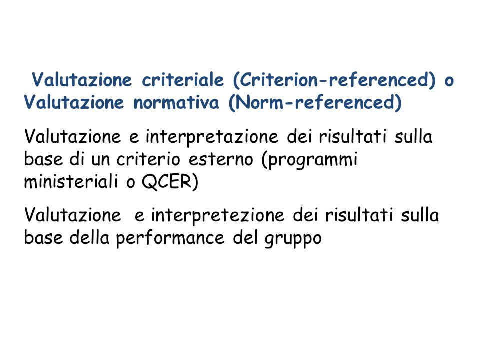 Valutazione criteriale (Criterion-referenced) o Valutazione normativa (Norm-referenced)