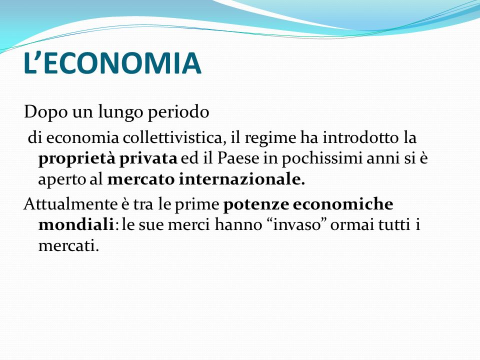 L'ECONOMIA Dopo un lungo periodo