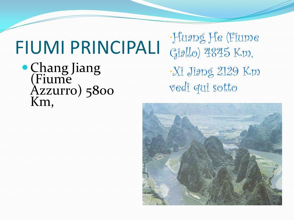 FIUMI PRINCIPALI Chang Jiang (Fiume Azzurro) 5800 Km,