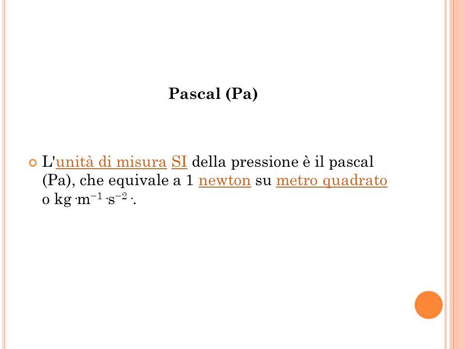 Pascal (Pa) L unità di misura SI della pressione è il pascal (Pa), che equivale a 1 newton su metro quadrato o kg·m−1·s−2·.