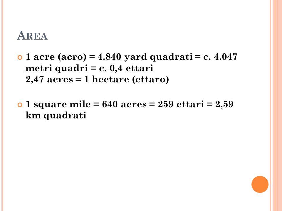 Area 1 acre (acro) = 4.840 yard quadrati = c. 4.047 metri quadri = c. 0,4 ettari 2,47 acres = 1 hectare (ettaro)