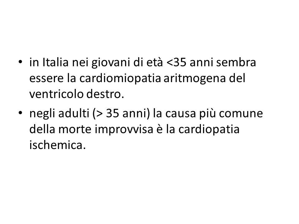 in Italia nei giovani di età <35 anni sembra essere la cardiomiopatia aritmogena del ventricolo destro.