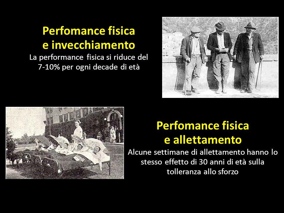 Perfomance fisica e invecchiamento La performance fisica si riduce del 7-10% per ogni decade di età