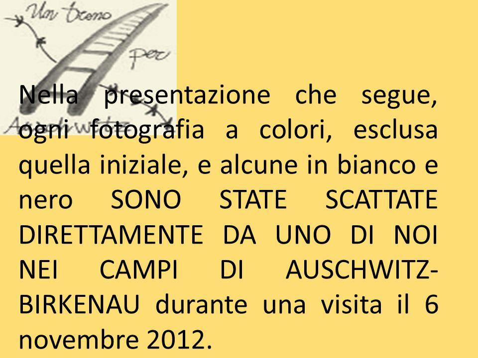 Nella presentazione che segue, ogni fotografia a colori, esclusa quella iniziale, e alcune in bianco e nero SONO STATE SCATTATE DIRETTAMENTE DA UNO DI NOI NEI CAMPI DI AUSCHWITZ-BIRKENAU durante una visita il 6 novembre 2012.