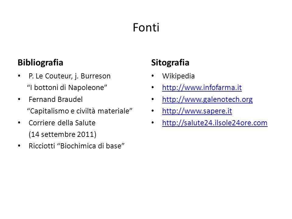 Fonti Bibliografia Sitografia P. Le Couteur, j. Burreson