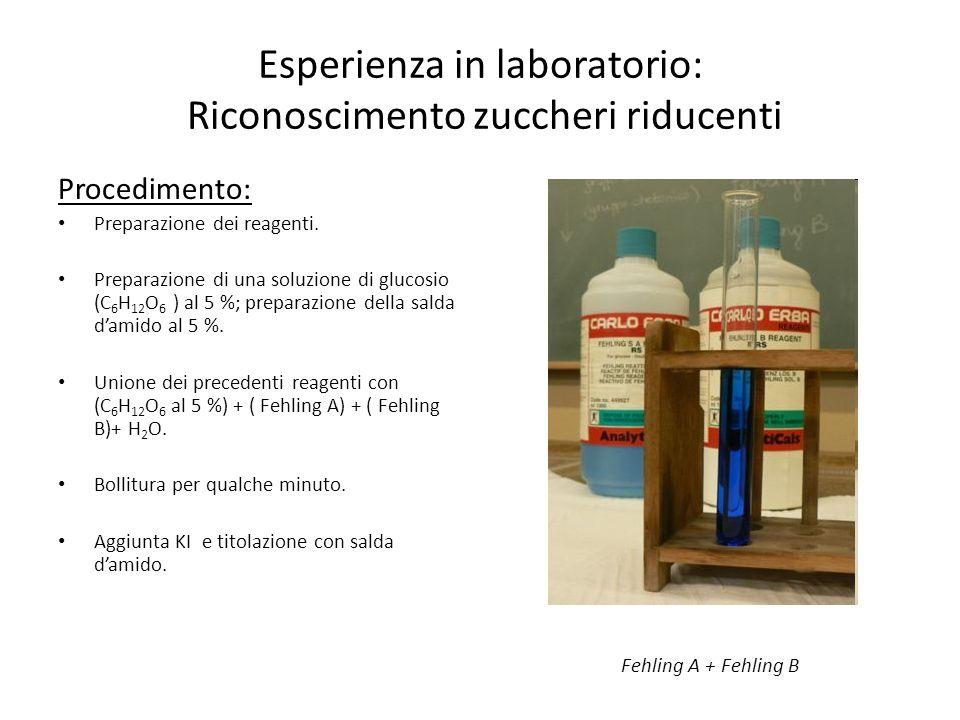 Esperienza in laboratorio: Riconoscimento zuccheri riducenti
