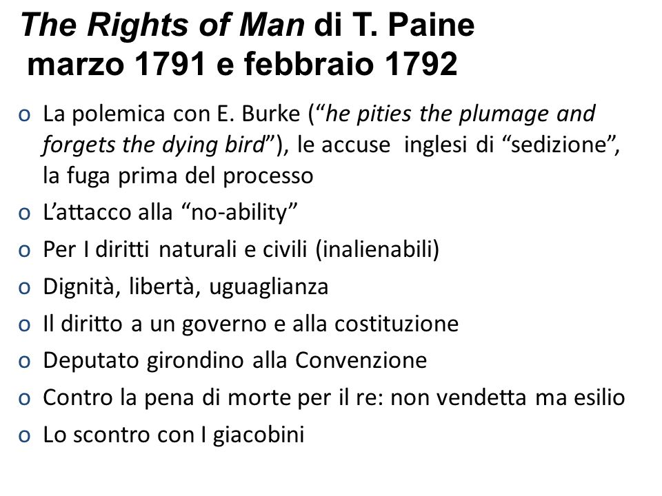 The Rights of Man di T. Paine marzo 1791 e febbraio 1792