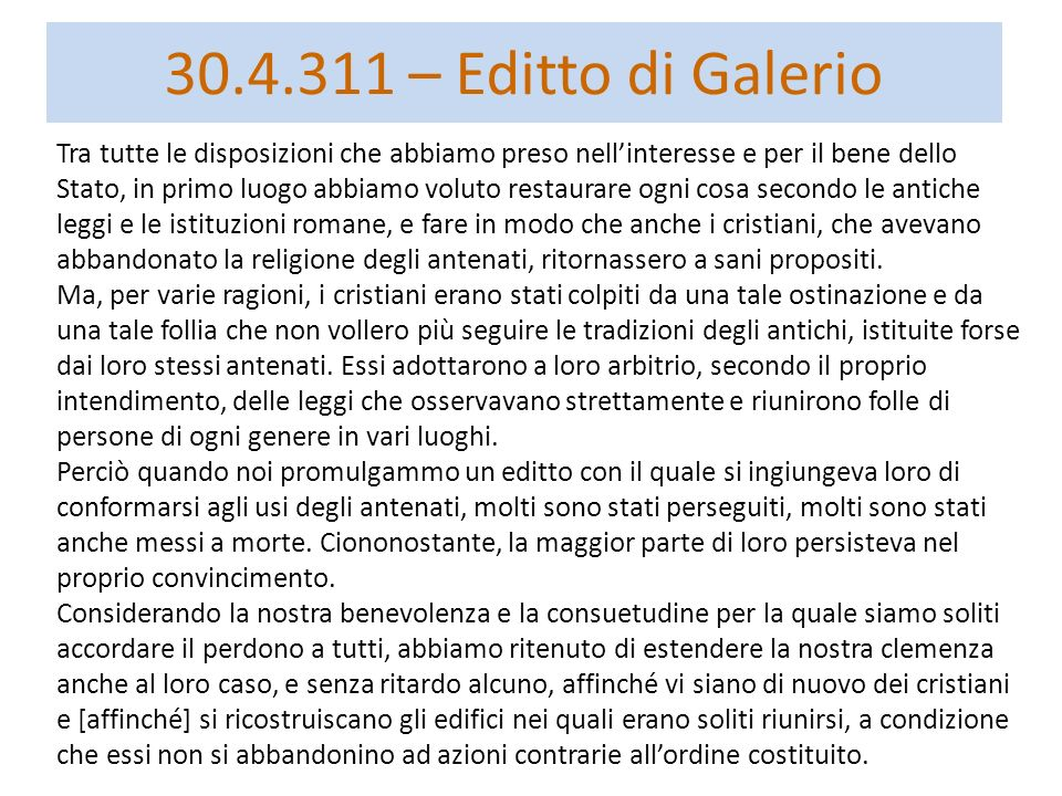 30.4.311 – Editto di Galerio