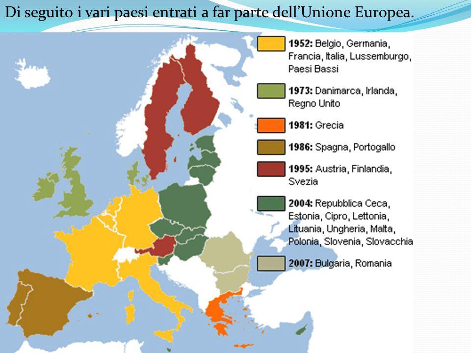 Di seguito i vari paesi entrati a far parte dell'Unione Europea.