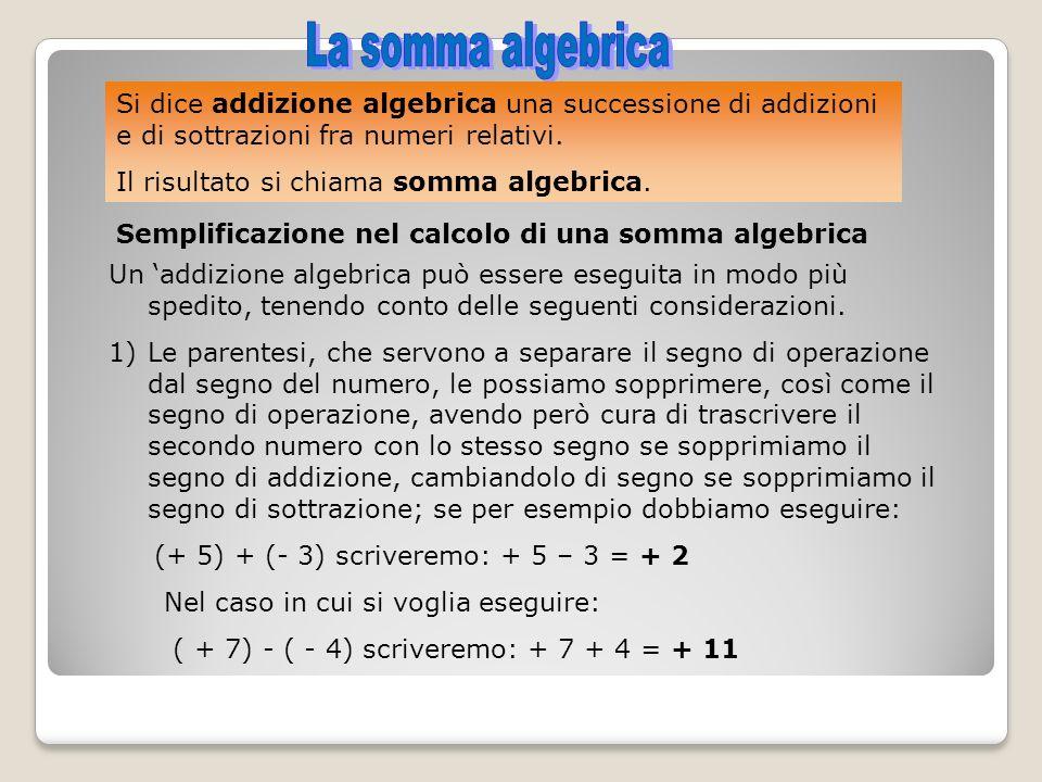 La somma algebrica Si dice addizione algebrica una successione di addizioni e di sottrazioni fra numeri relativi.