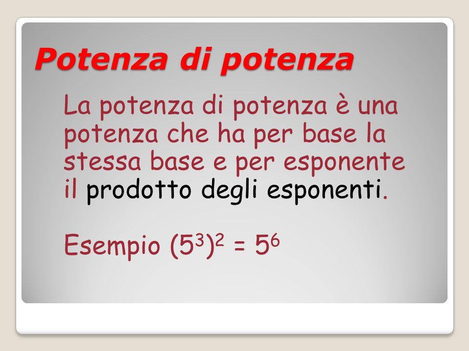 Potenza di potenza La potenza di potenza è una potenza che ha per base la stessa base e per esponente il prodotto degli esponenti.