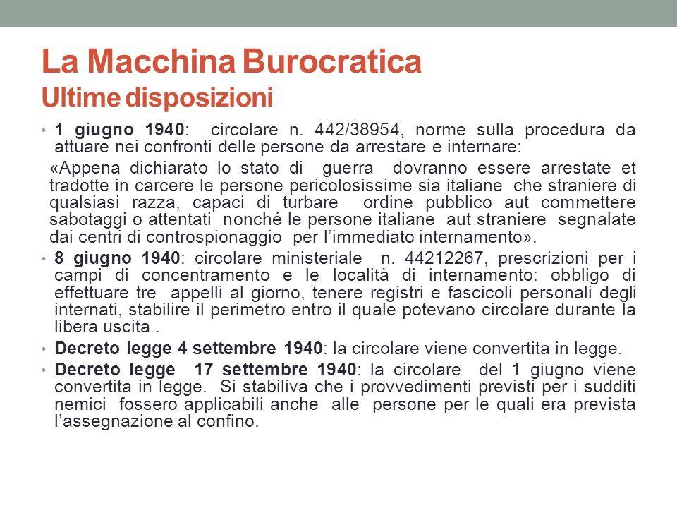 La Macchina Burocratica Ultime disposizioni