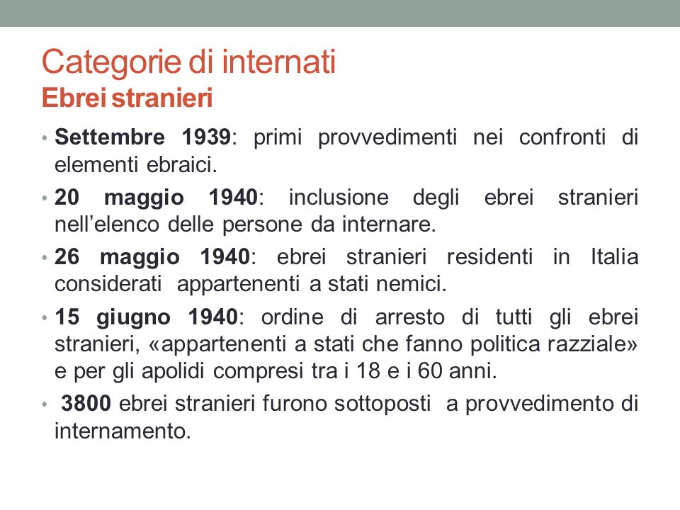 Categorie di internati Ebrei stranieri