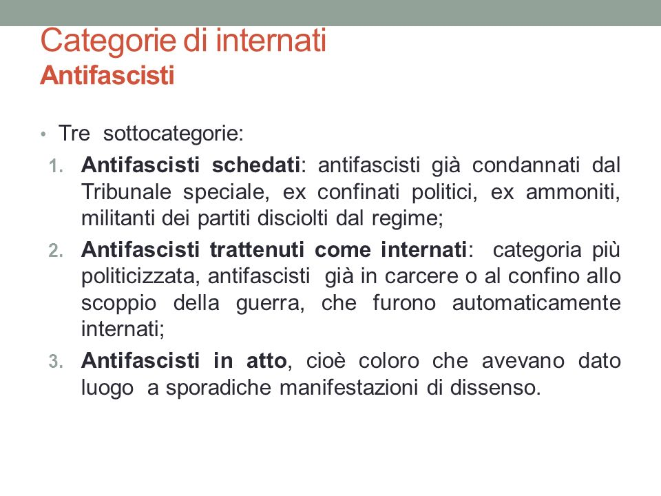 Categorie di internati Antifascisti