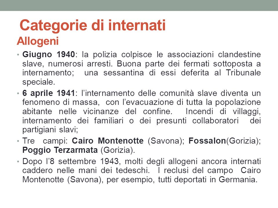 Categorie di internati Allogeni