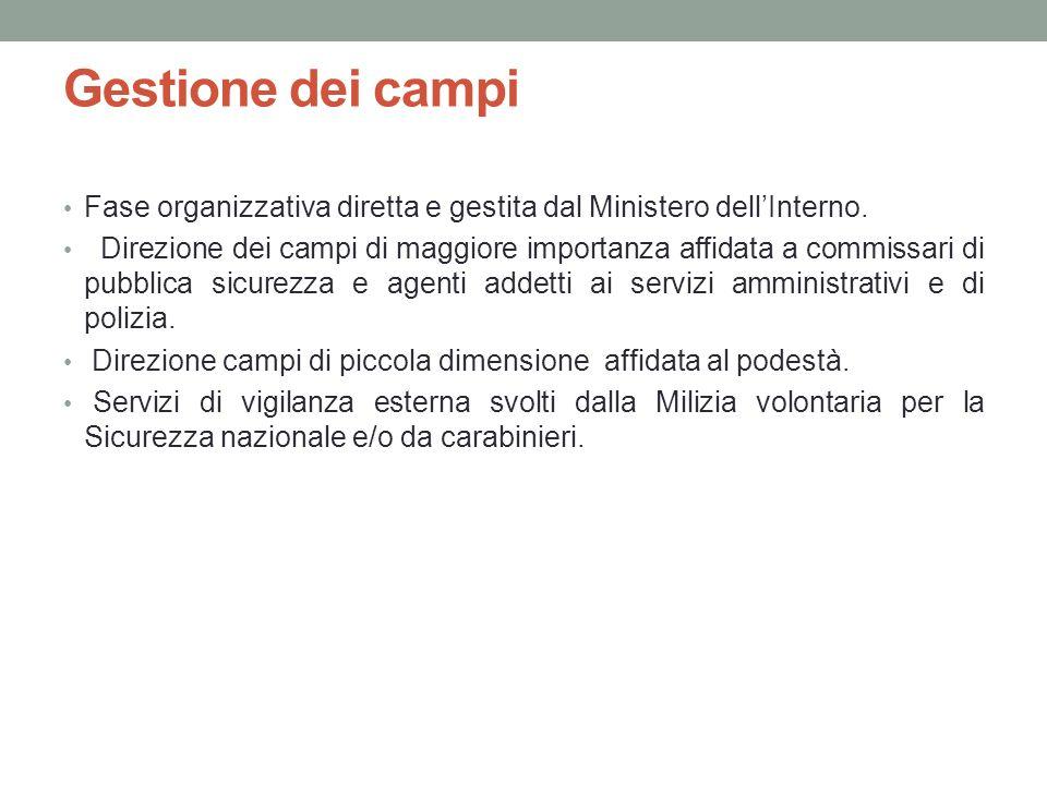 Gestione dei campi Fase organizzativa diretta e gestita dal Ministero dell'Interno.