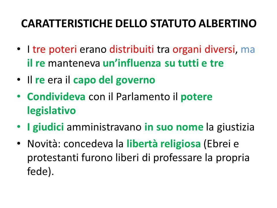CARATTERISTICHE DELLO STATUTO ALBERTINO