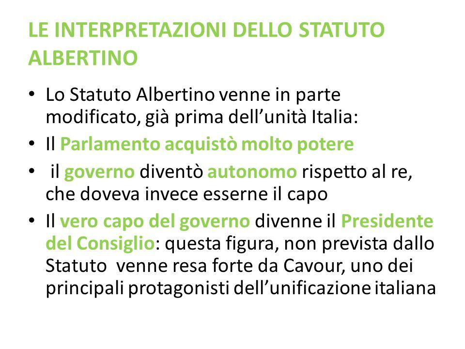 LE INTERPRETAZIONI DELLO STATUTO ALBERTINO
