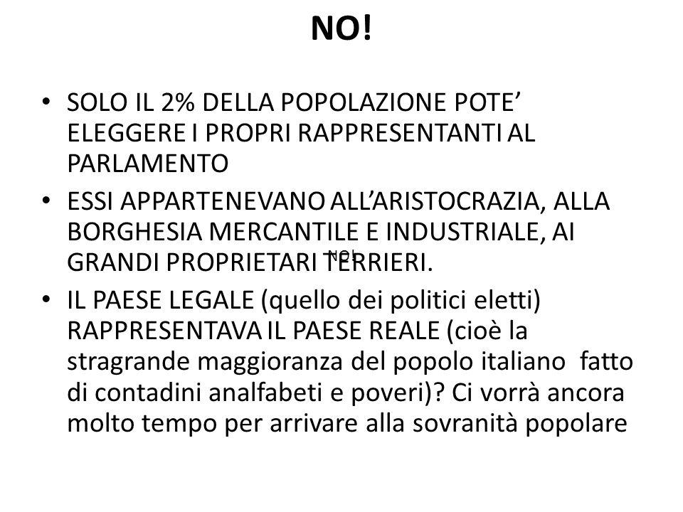 NO! SOLO IL 2% DELLA POPOLAZIONE POTE' ELEGGERE I PROPRI RAPPRESENTANTI AL PARLAMENTO.