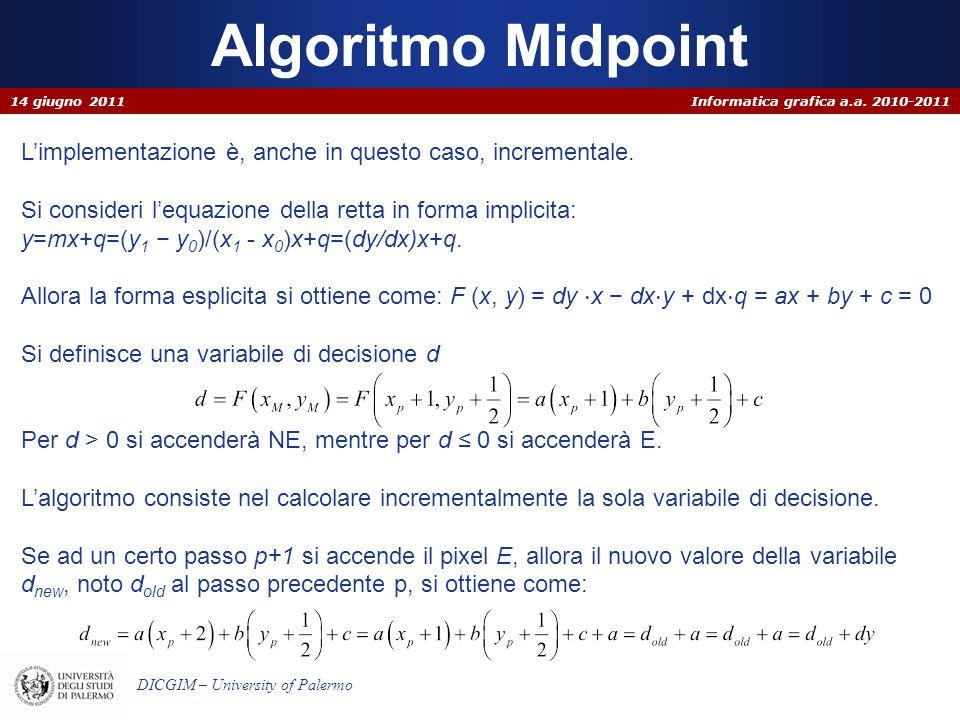 Algoritmo Midpoint 14 giugno 2011. L'implementazione è, anche in questo caso, incrementale.