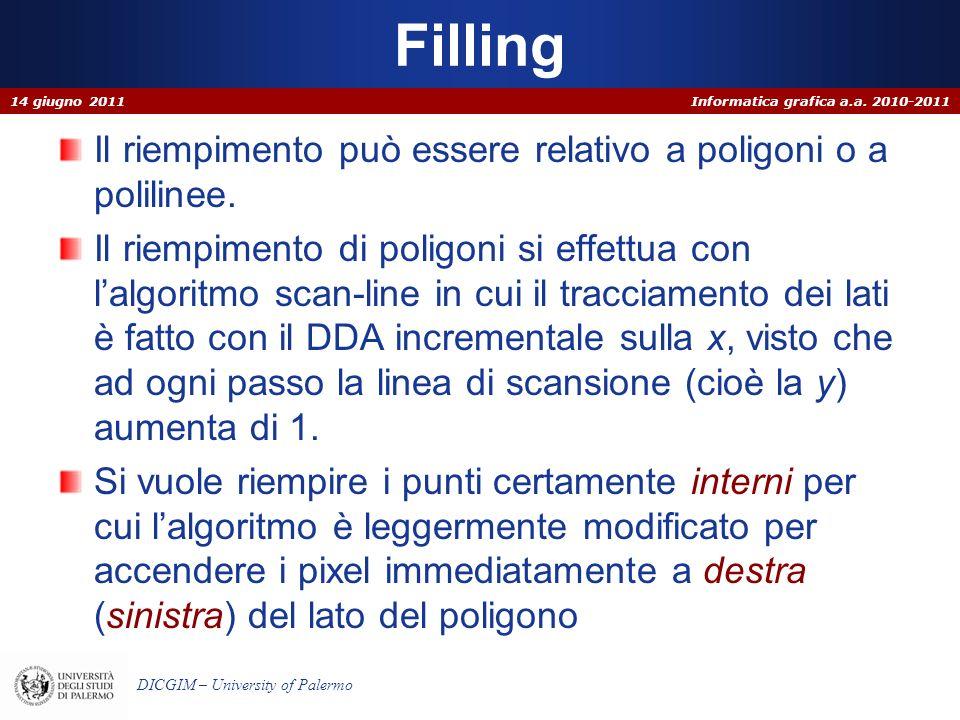 Filling Il riempimento può essere relativo a poligoni o a polilinee.