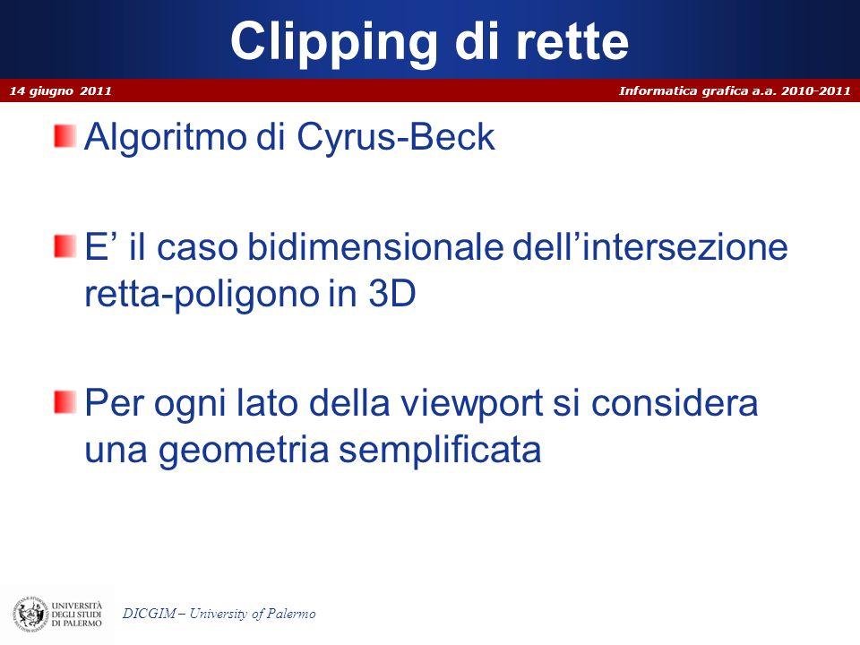 Clipping di rette Algoritmo di Cyrus-Beck