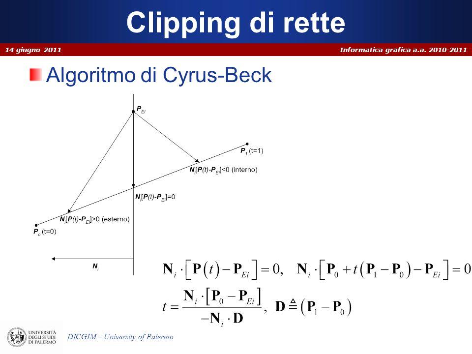 Clipping di rette 14 giugno 2011 Algoritmo di Cyrus-Beck