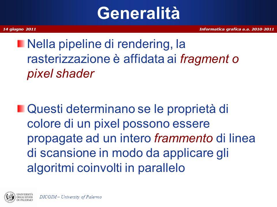 Generalità 14 giugno 2011. Nella pipeline di rendering, la rasterizzazione è affidata ai fragment o pixel shader.