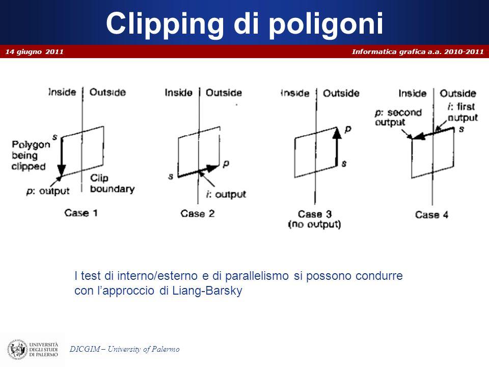 Clipping di poligoni 14 giugno 2011. I test di interno/esterno e di parallelismo si possono condurre.