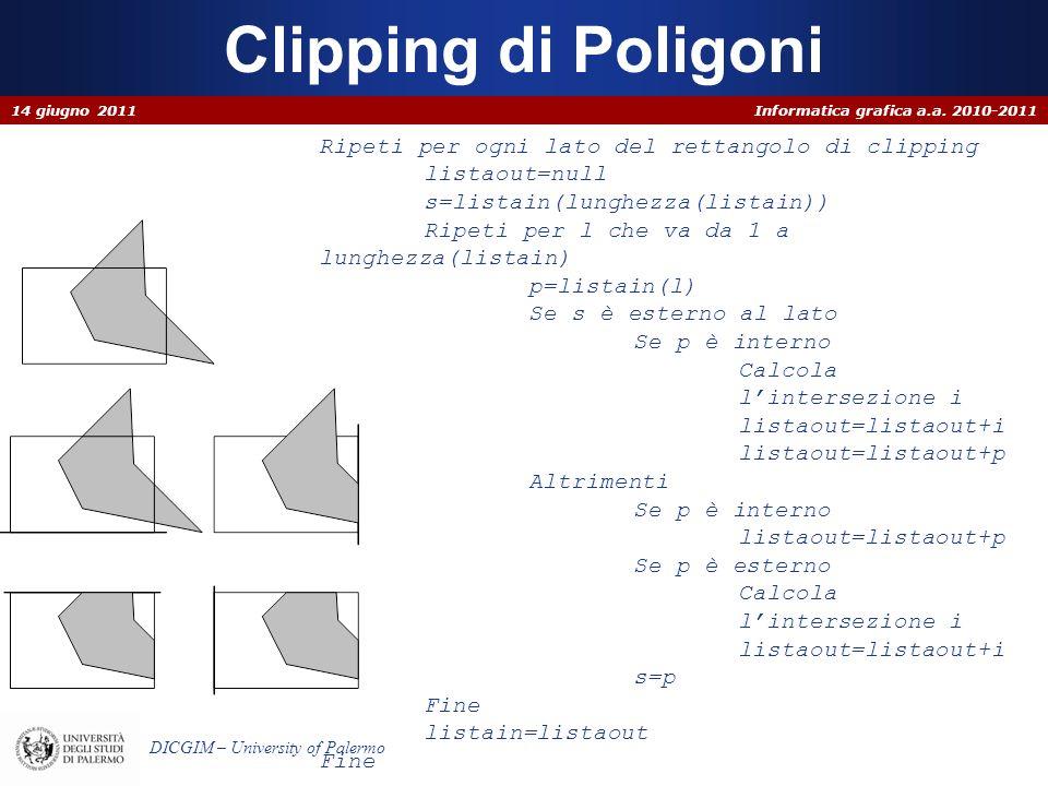 Clipping di Poligoni Ripeti per ogni lato del rettangolo di clipping