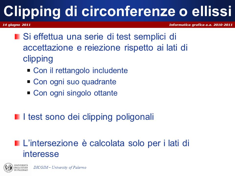 Clipping di circonferenze o ellissi