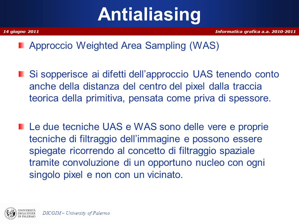 Antialiasing Approccio Weighted Area Sampling (WAS)