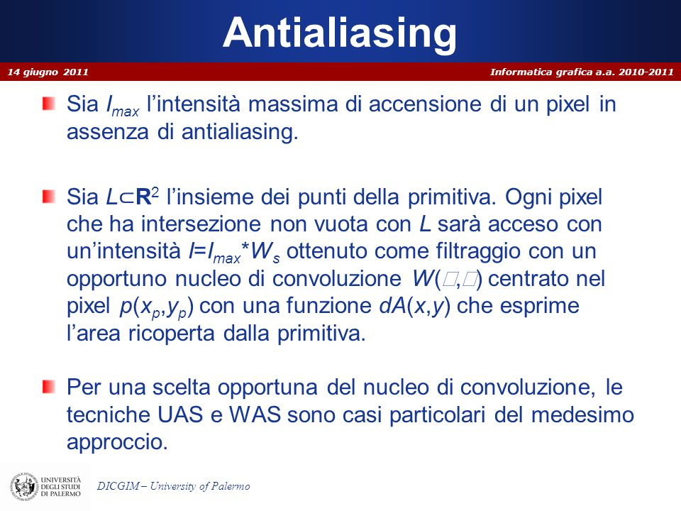 Antialiasing 14 giugno 2011. Sia Imax l'intensità massima di accensione di un pixel in assenza di antialiasing.