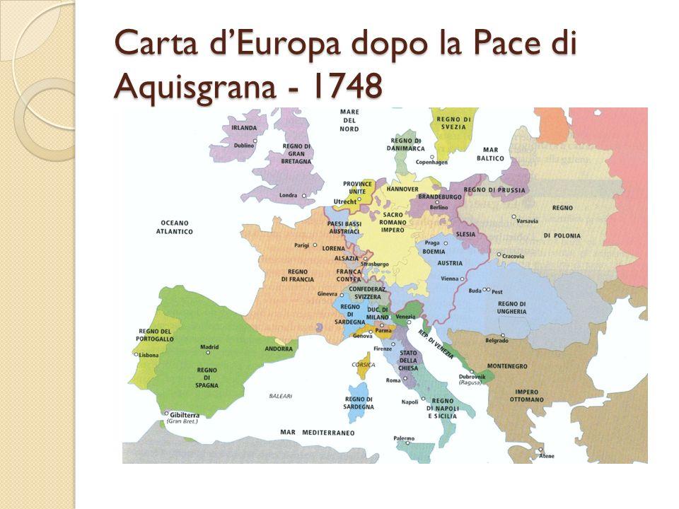 Carta d'Europa dopo la Pace di Aquisgrana - 1748