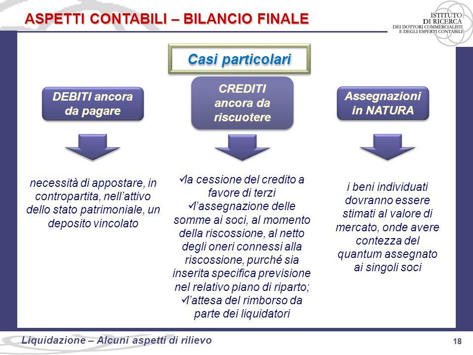 ASPETTI CONTABILI – BILANCIO FINALE
