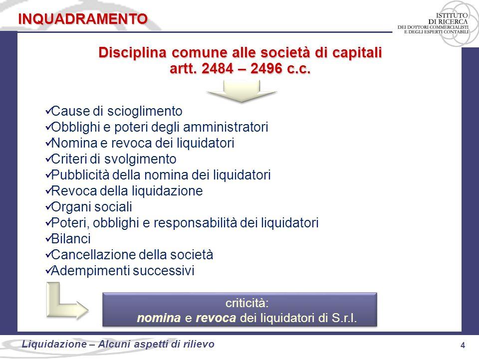 Disciplina comune alle società di capitali
