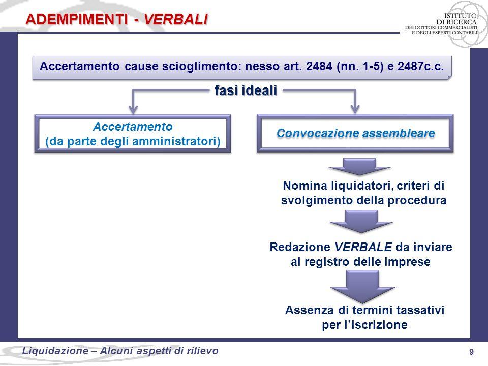 Accertamento cause scioglimento: nesso art. 2484 (nn. 1-5) e 2487c.c.