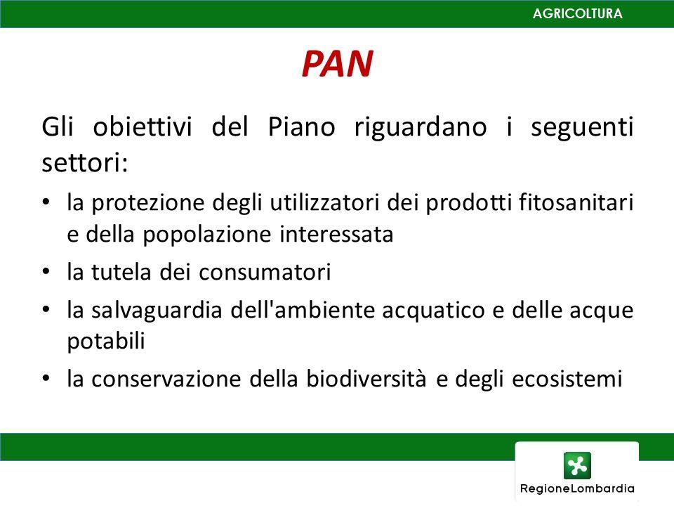 PAN Gli obiettivi del Piano riguardano i seguenti settori: