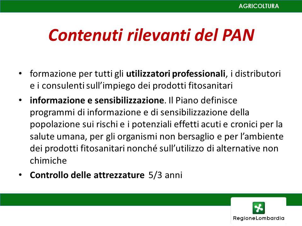 Contenuti rilevanti del PAN