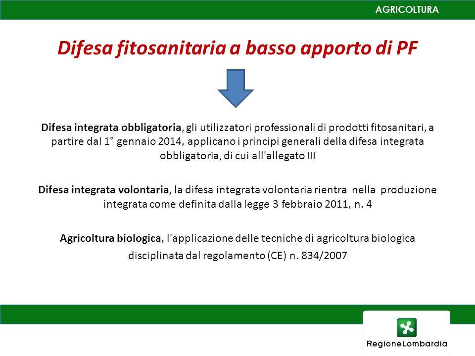 Difesa fitosanitaria a basso apporto di PF