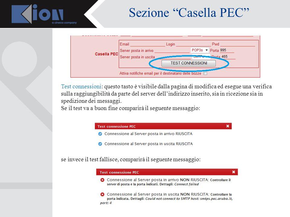 Sezione Casella PEC