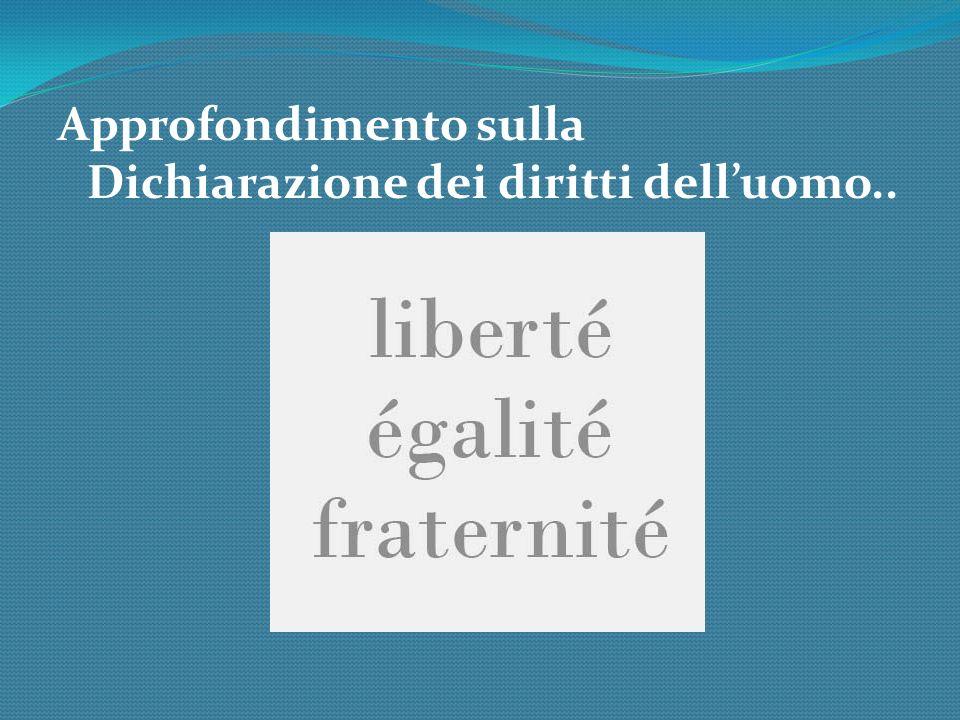 Approfondimento sulla Dichiarazione dei diritti dell'uomo..