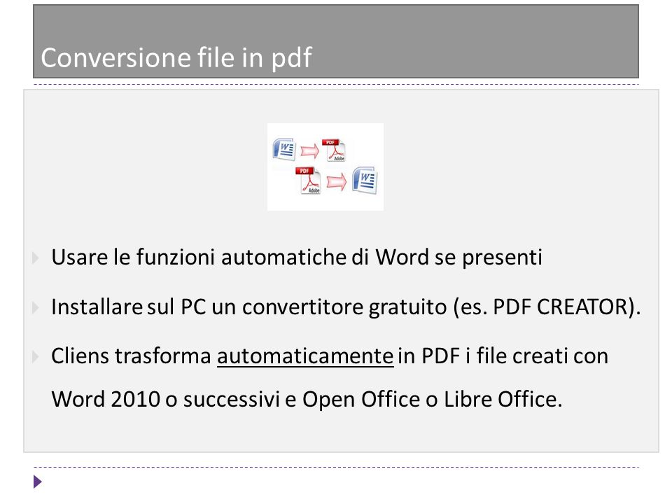 Conversione file in pdf